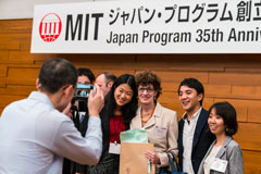 Patricia Gercik (center) with her former MIT students at the 35th anniversary celebration of the MIT-Japan Program.