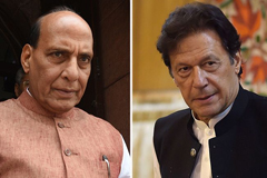 India's defence minister Rajnath Singh (left) and Pakistan's Prime Minister Imran Khan (right).Credit: Hindustan Times/Getty, Aamir Qureshi/Getty
