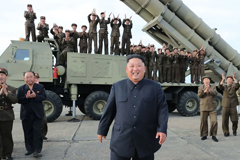 An image released by North Korea's state news agency showing the country's leader, Kim Jong-un, celebrating what was purportedly the test-firing of a new rocket launcher last month.CreditCreditKorean Central News Agency