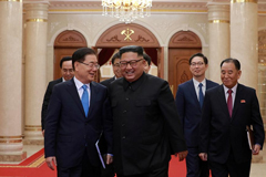 Chief of the national security office at Seoul's presidential Blue House Chung Eui-yong meets with North Korean leader Kim Jong Un in Pyongyang, North Korea. The Presidential Blue House /via REUTERS