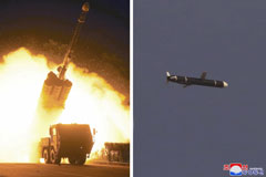 Long-range cruise missiles are tested in North Korea in these photos released Monday.   KCNA / VIA REUTERS