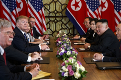 President Donald Trump speaks during a meeting with North Korean leader Kim Jong Un, in Hanoi, Vietnam, Feb. 28, 2019.