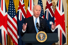 President Biden spoke Wednesday about a new initiative with Britain and Australia to add to the Western presence in the Pacific.Credit...Doug Mills/The New York Times