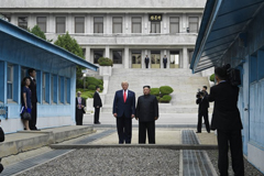 In this June 30, 2019, file photo, President Donald Trump meets with North Korean leader Kim Jong Un at the border village of Panmunjom in the Demilitarized Zone, South Korea. After two years in the spotlight at the U.N. General Assembly, North Korea this year is mostly an afterthought. The nation warranted only a single, rehashed sentence in Trump's address and has been largely overshadowed by other standoffs and scandals. (AP Photo/Susan Walsh, File)