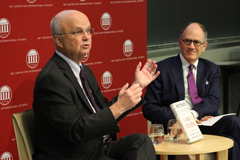 General Michael Hayden took questions from the audience and from Joel Brenner (right), who was a former senior counsel at the NSA and head of U.S. counterintelligence under the director of National Intelligence. Brenner is a research affiliate of the MIT Center for International Studies and CSAIL's Internet Policy Research Initiative.  Photo: Laura Kerwin/Center for International Studies