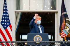 President Trump had been taking a steroid that doctors say can produce euphoria, bursts of energy and even a sense of invulnerability. Trump wearing a mask in front of White House pumping his fist. Credit...Doug Mills/The New York Times