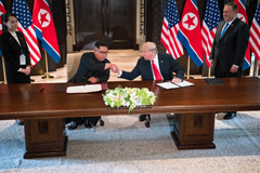 President Trump and Kim Jong-un, North Korea's leader, during a signing ceremony on Sentosa Island, Singapore, in June.CreditCreditDoug Mills/The New York Times