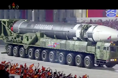 This image made from video broadcast by North Korea's KRT shows what appears to be a new intercontinental ballistic missile during a parade in Pyongyang on Oct. 10. (AP)