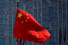 The Chinese national flag is seen in Beijing on April 29, 2020. (Thomas Peter/Reuters)