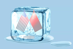 US flag and China flag inside an ice cube
