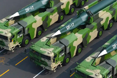 Military vehicles carrying the DF-17 hypersonic ballistic missile, capable of flying at five times the speed of sound, are seen during a parade in Beijing in October 2019. Photograph: Xinhua News Agency Handout/EPA