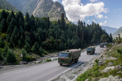 An Indian Army convoy near the Chinese border in September. A Chinese military buildup in the area led to bloodshed this year, and now China is pushing claims nearby on strategically valuable land claimed by Bhutan.Credit...Dar Yasin/Associated Press