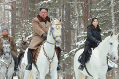 North Korean leader Kim Jong Un rides a horse as he visits battle sites in areas of Mt Paektu, Ryanggang, North Korea, in this undated picture released by North Korea's Central News Agency (KCNA) on December 4, 2019.     KCNA via REUTERS