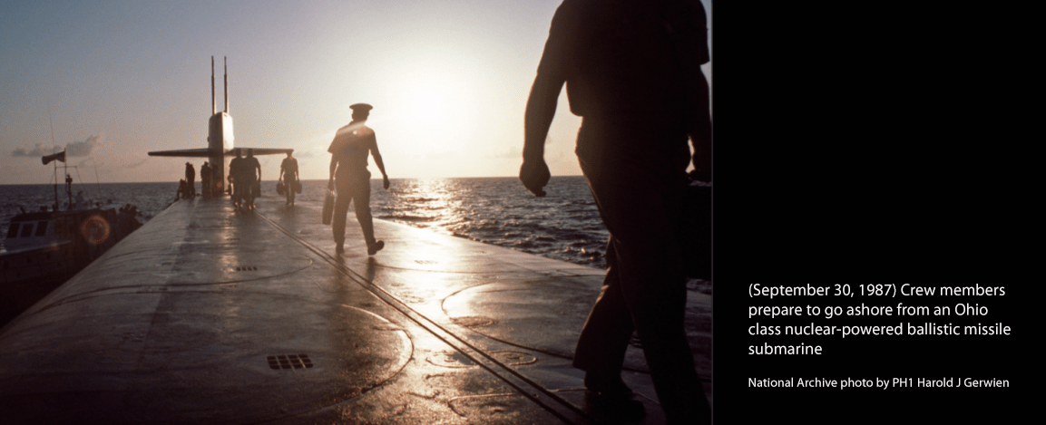 September 30, 1987 – Crew members prepare to go ashore from an Ohio class nuclear-powered ballistic missile submarine (National Archive photo by PH1 Harold J. Gerwien)
