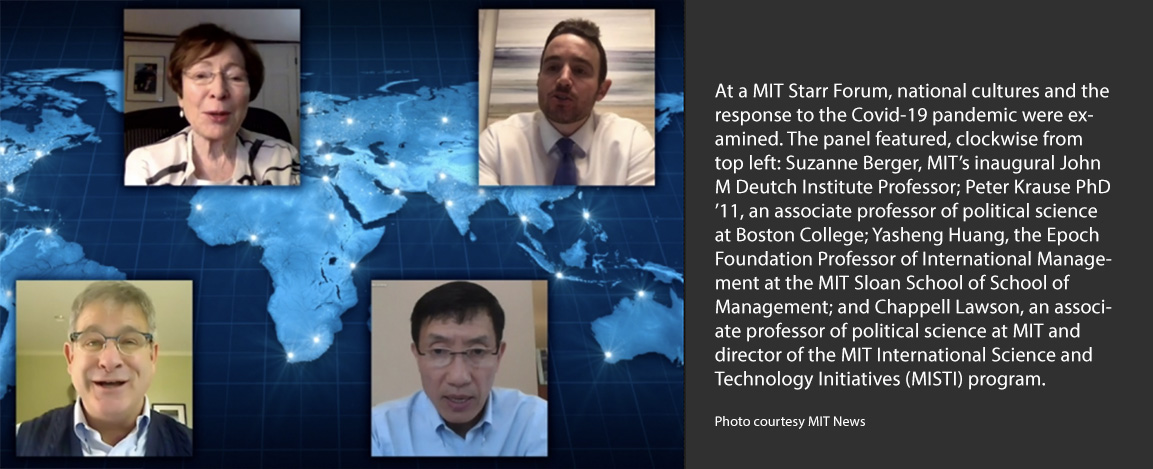 Head shots of Suzanne Berger, Peter Krause, Yasheng Huang, Chap Lawson on globe map background
