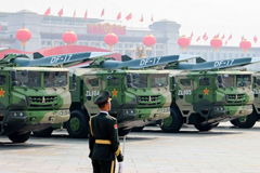 DF-17 Dongfeng medium-range ballistic missiles equipped with a DF-ZF hypersonic glide vehicle participate in a military parade to mark the 70th anniversary of the Chinese People's Republic in Beijing Oct. 1, 2019.