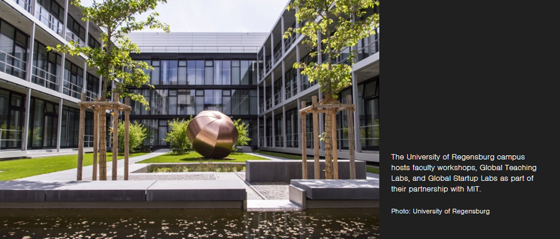 The University of Regensburg campus hosts faculty workshops, Global Teaching Labs, and Global Startup Labs as part of their partnership with MIT.  Photo: University of Regensburg