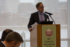 Taylor Fravel, associate professor of political science, a member of the Security Studies Program, and acting director of the MIT Center for International Studies, gave welcoming remarks