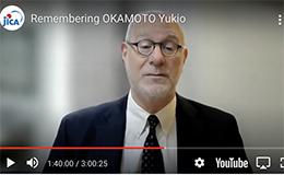 Screen shot of Richard Samuels paying tribute to Yukio Okamoto
