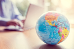 Laptop and globe