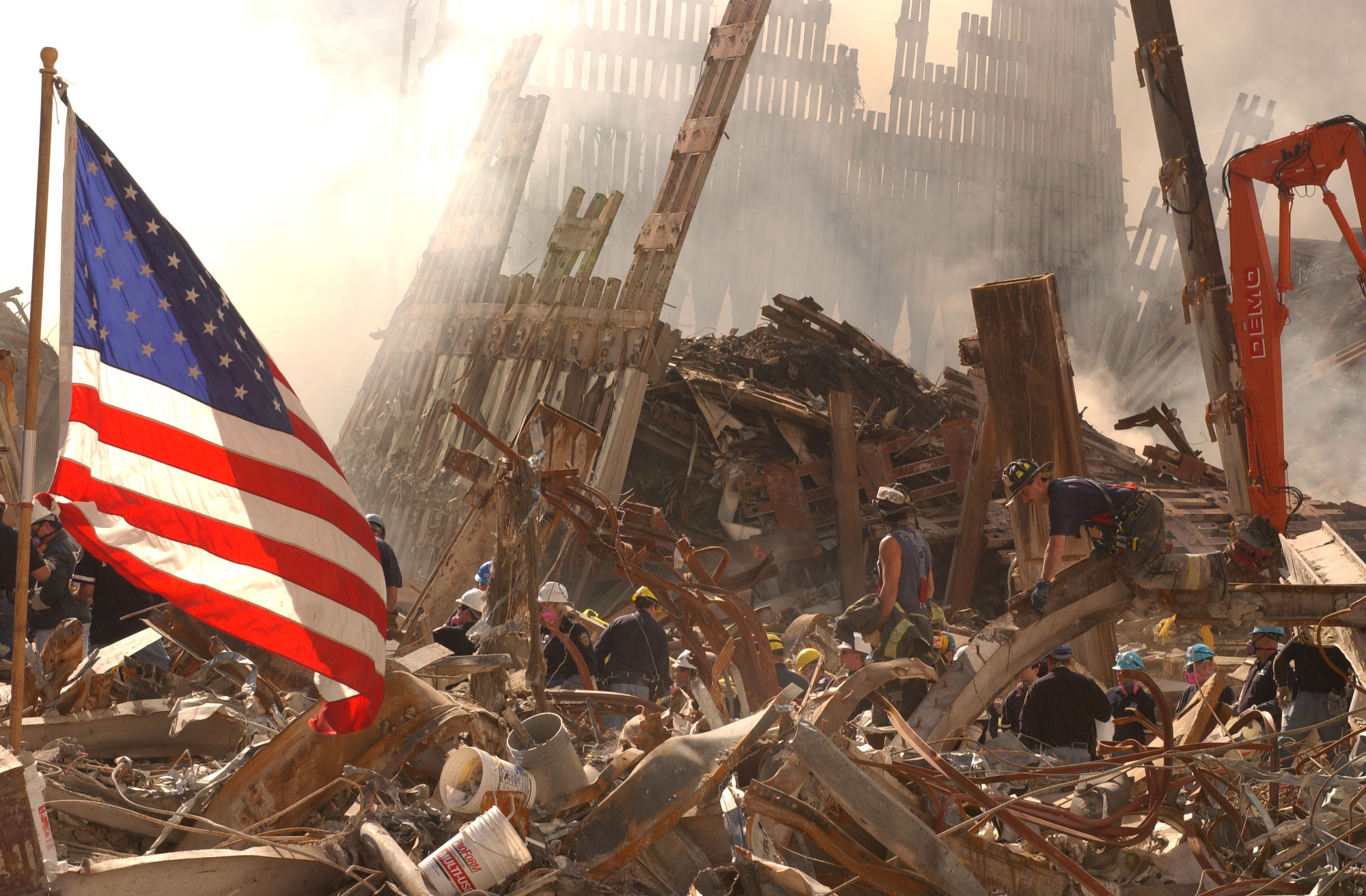 Ground zero photo soon after September 11, 2001, attached on the Twin Towers