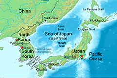 Map of Japan and ROK