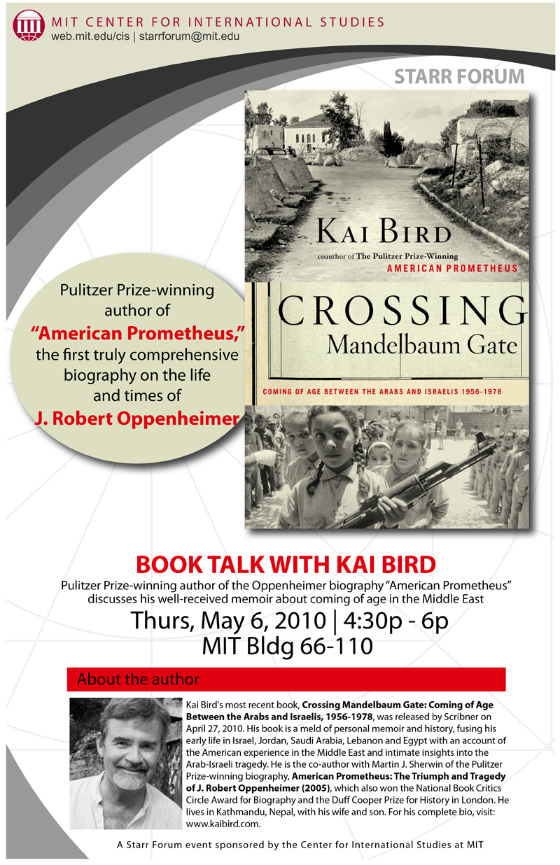 "Starr Forum: ""Crossing Mandelbaum Gate"" Book Talk with Kai Bird"