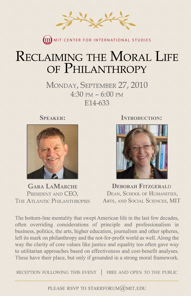 Starr Forum: Reclaiming the Moral Life of Philanthropy