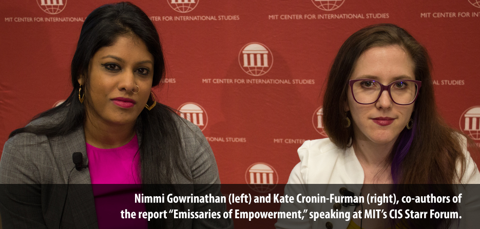 "Nimmi Gowrinathan (left) and Kate Cronin-Furman (right), co-authors of  the report ""Emissaries of Empowerment,"" speaking at MIT's CIS Starr Forum."