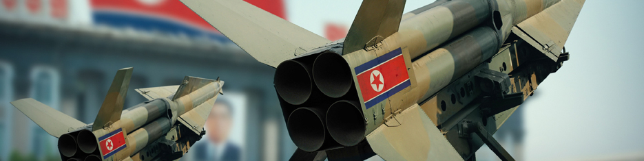 North Korea missiles and flag