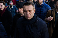 A 2017 photo Navalny with protestors in Moscow