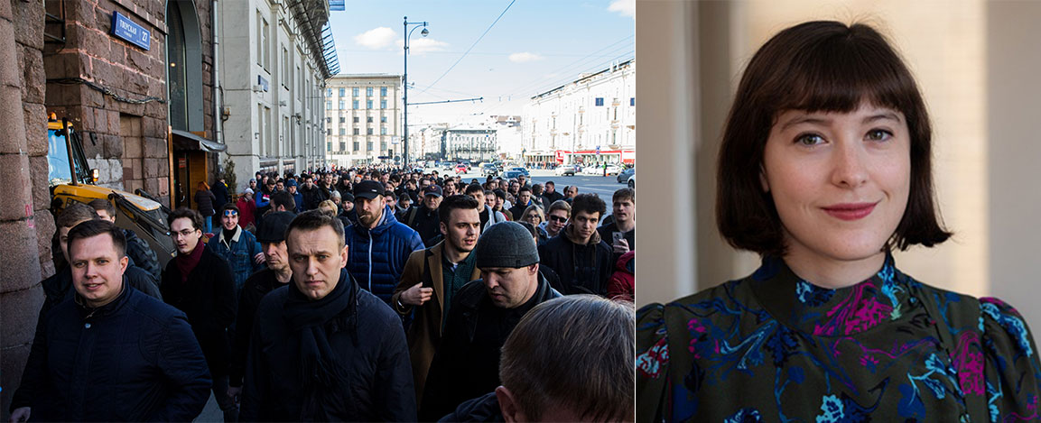protesters marching along Moscow's Tverskaya Street, March 26, 2017 and head shot of Suzanne Freeman
